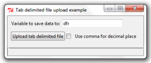 The file upload dialog box we created