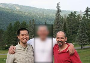Bob is blurred in the photo of the three amigos
