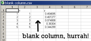 the CSV file contains a blank column